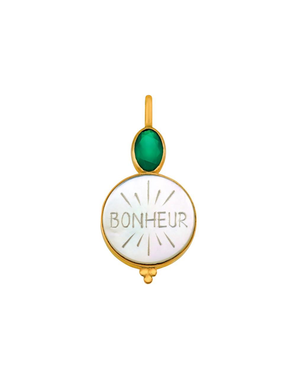 Médaille nacre Bonheur • Agate verte