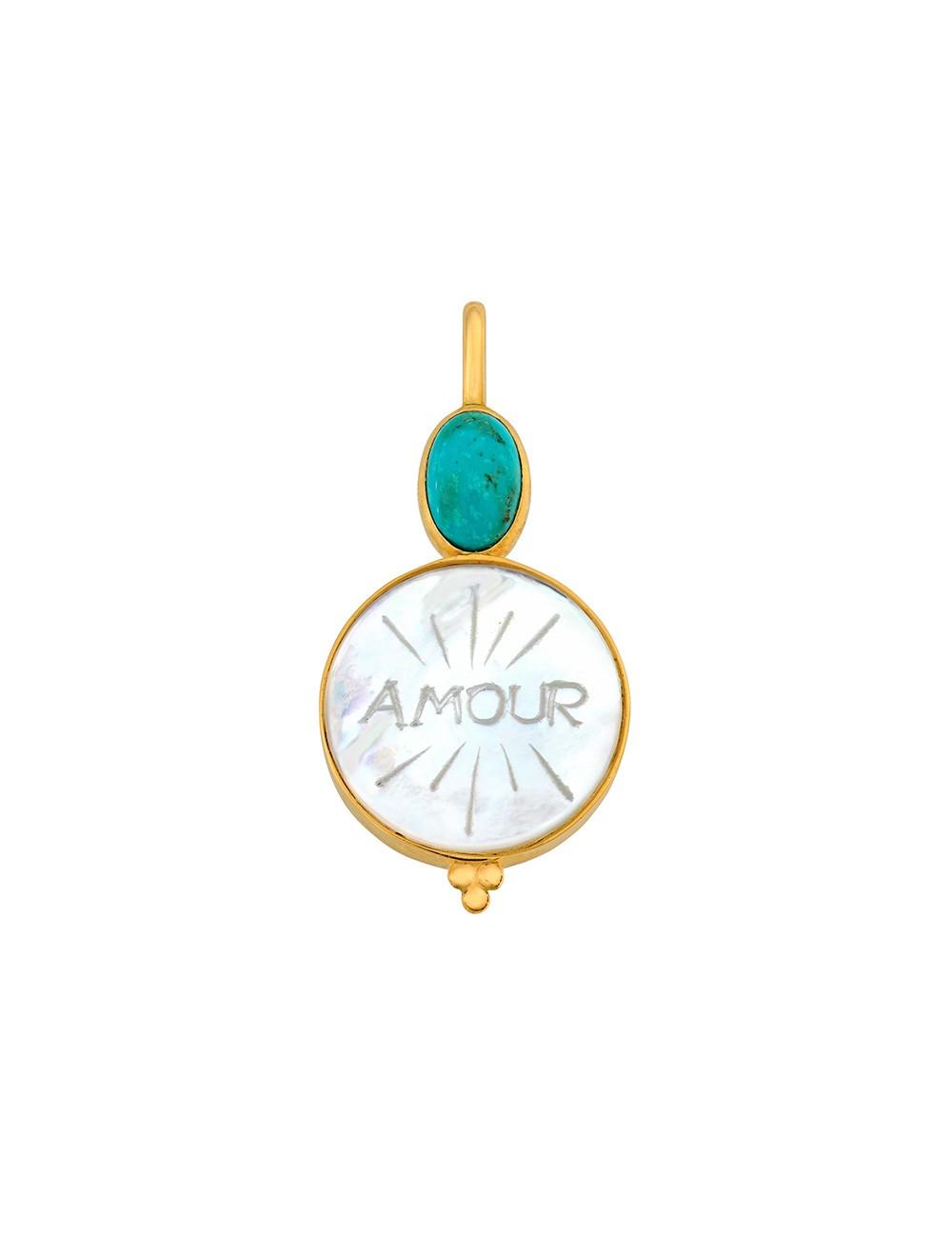 Médaille nacre Amour • Turquoise