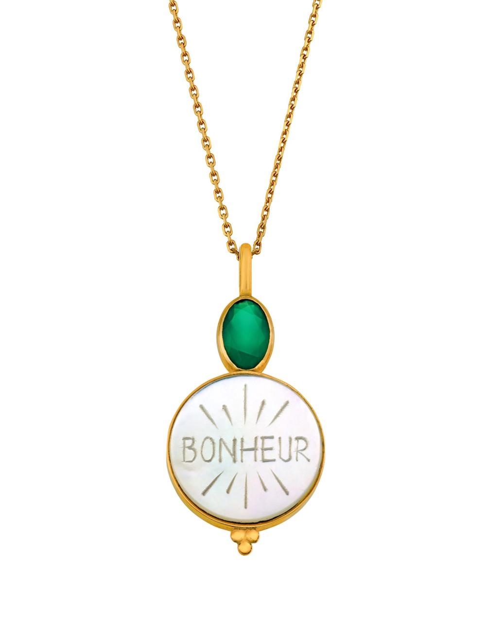 Médaille nacre Bonheur sur chaine