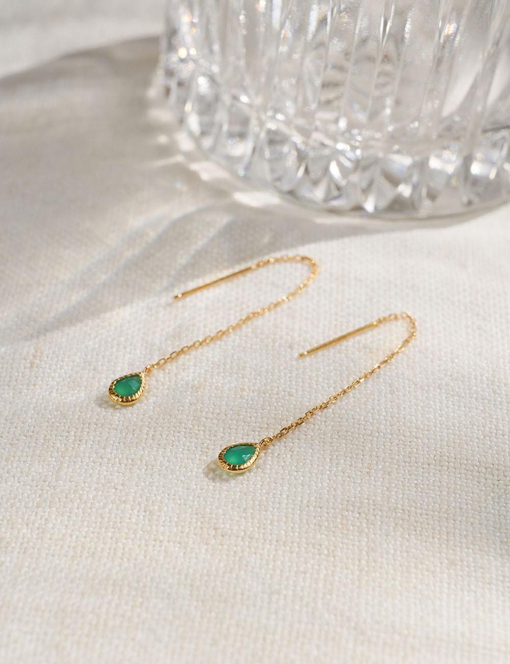 Boucles d'oreilles Agathe * Quartz vert