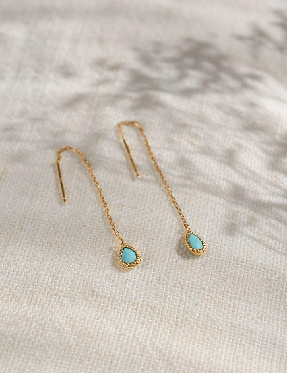 Boucles d'oreilles Agathe * Turquoise